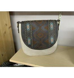 Montana West - Aztec crossbody w/ teal/orange stitching - Coffee/Tan - #MW744-8360CF