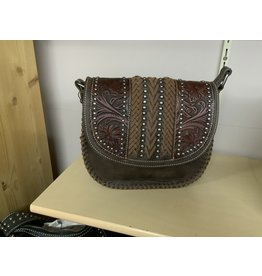 Trinity Ranch - Tooled Leather Floral crossbody - Coffee - #TR80-916CF