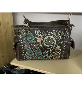 PURSE - Embroidered Satchel - coffee