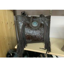Purse* Trinity Ranch - Tooled Design w/large Teal Concho Handbag-Coffee # TR04G-8317ACF