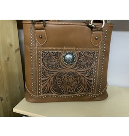 Trinity Ranch - Tooled Tote  w/ large concho - Brown - #TR50-8317BR