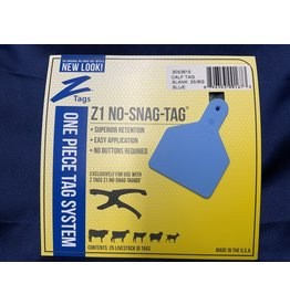 TAG* Z-Tag Calf 1PC 25's Z1 No Snag -  Blue 9053615 (Special order)