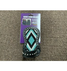 COW* Beaded Show Number and Comb Holder - Blue and Teal Diamond 80-0998-C9
