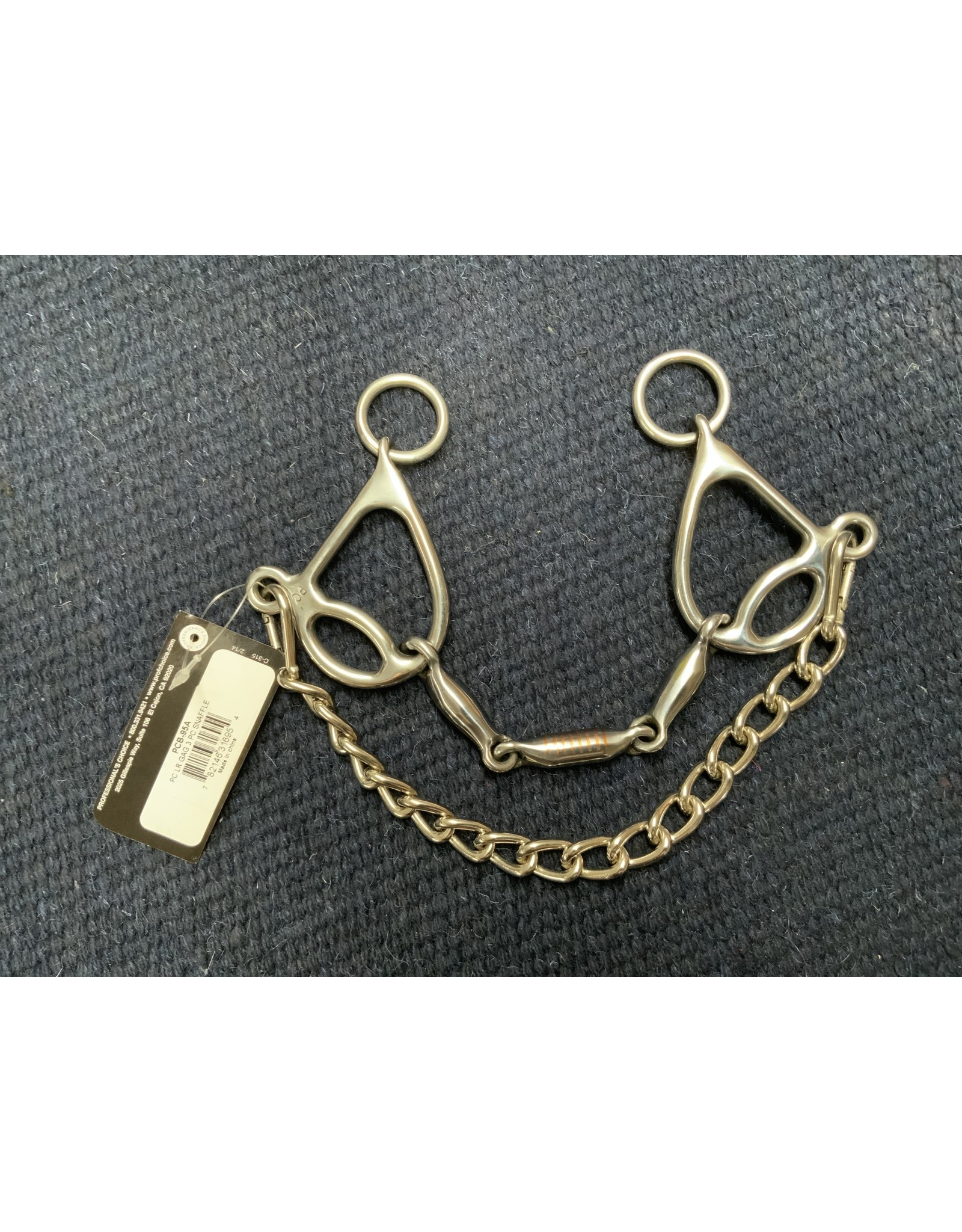 "BIT*Short Shank Loose Ring Gag Three Piece Snaffle Mouth 5.25"" Cheek 4.5 PCB-95A"