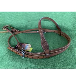 Halt* Headstall Basket Stamped Premium Cowhide Tapered Browband  - 42-1440-33-0