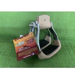 "Stirrups* - Angled 2"" Aluminum w/leather & rubber - #57-9992-23-0"
