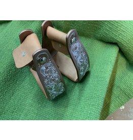 Engraved slanted stirrup ** Brown 3'' SA-SS-3S