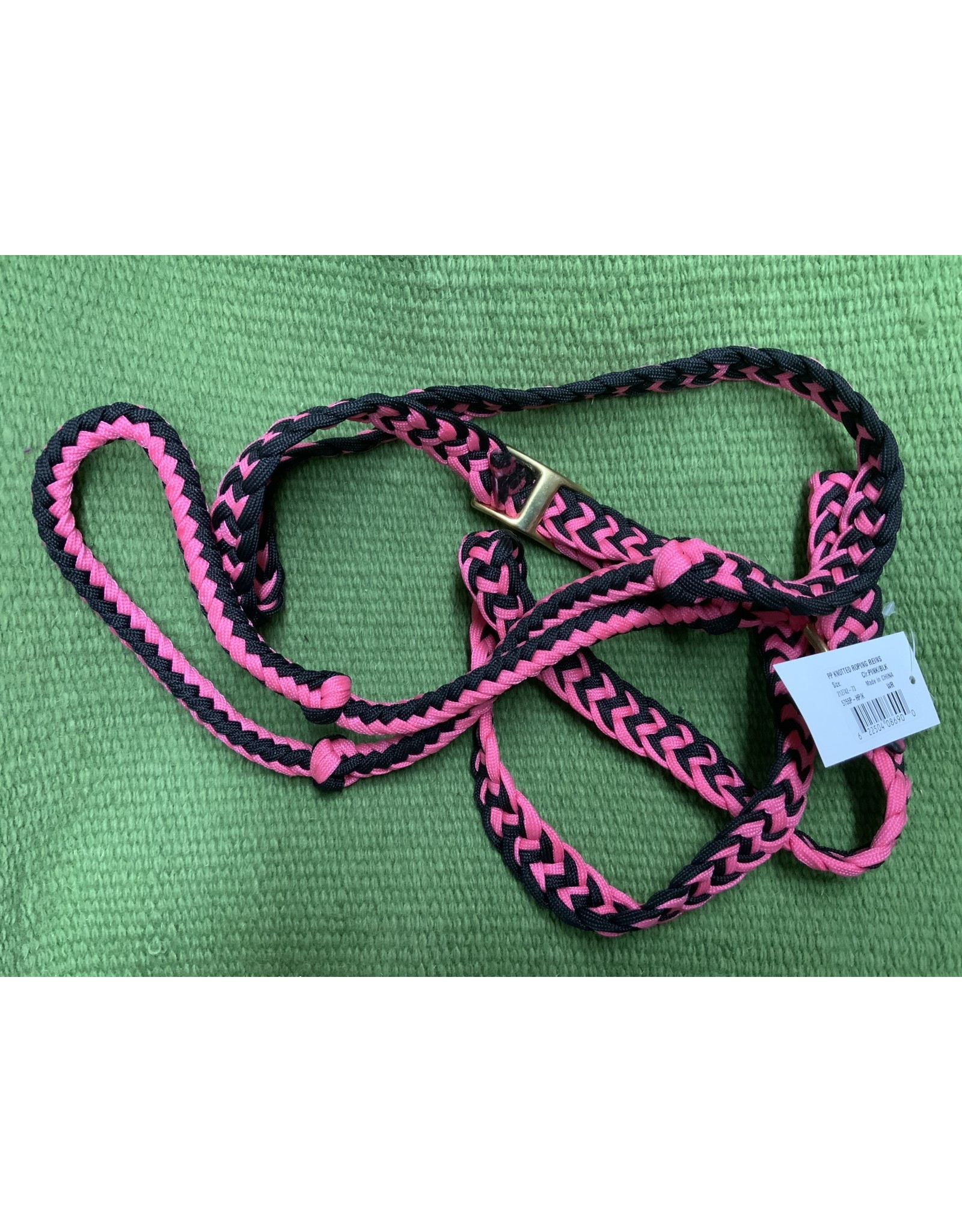 Braided Poly Knotted Roping Rein - Hot Pink/Black 2742 73