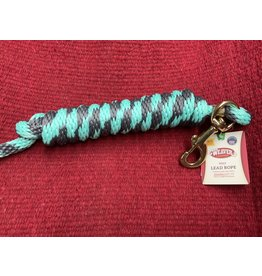 Lead Rope w/ Solid Brass Snap 8' - Striped Grey/Aqua 35-2155-T31