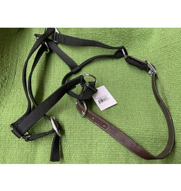 HALT*Halter w/Leather Breakaway -LARGE HORSE/OVERSIZE - Black - GLBR-L-BK