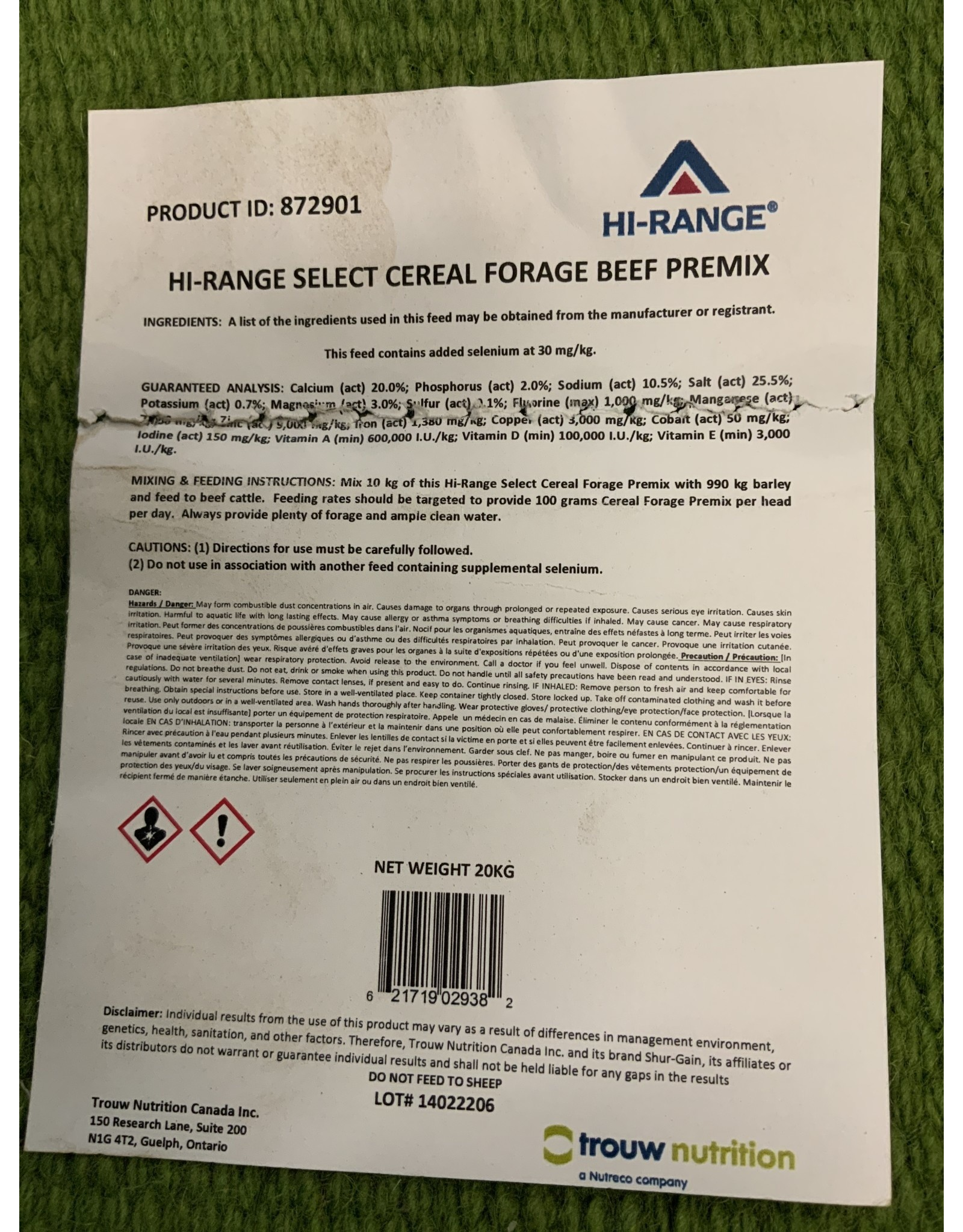 Cattle Mineral (Loose) All Year Quality Mineral * HI-RANGE FORAGE BF MIN PLN Non-medicated so you can use and take animals off anytime with no risk *perfect all round bag mineral * 873941  (872901- New Product Number)