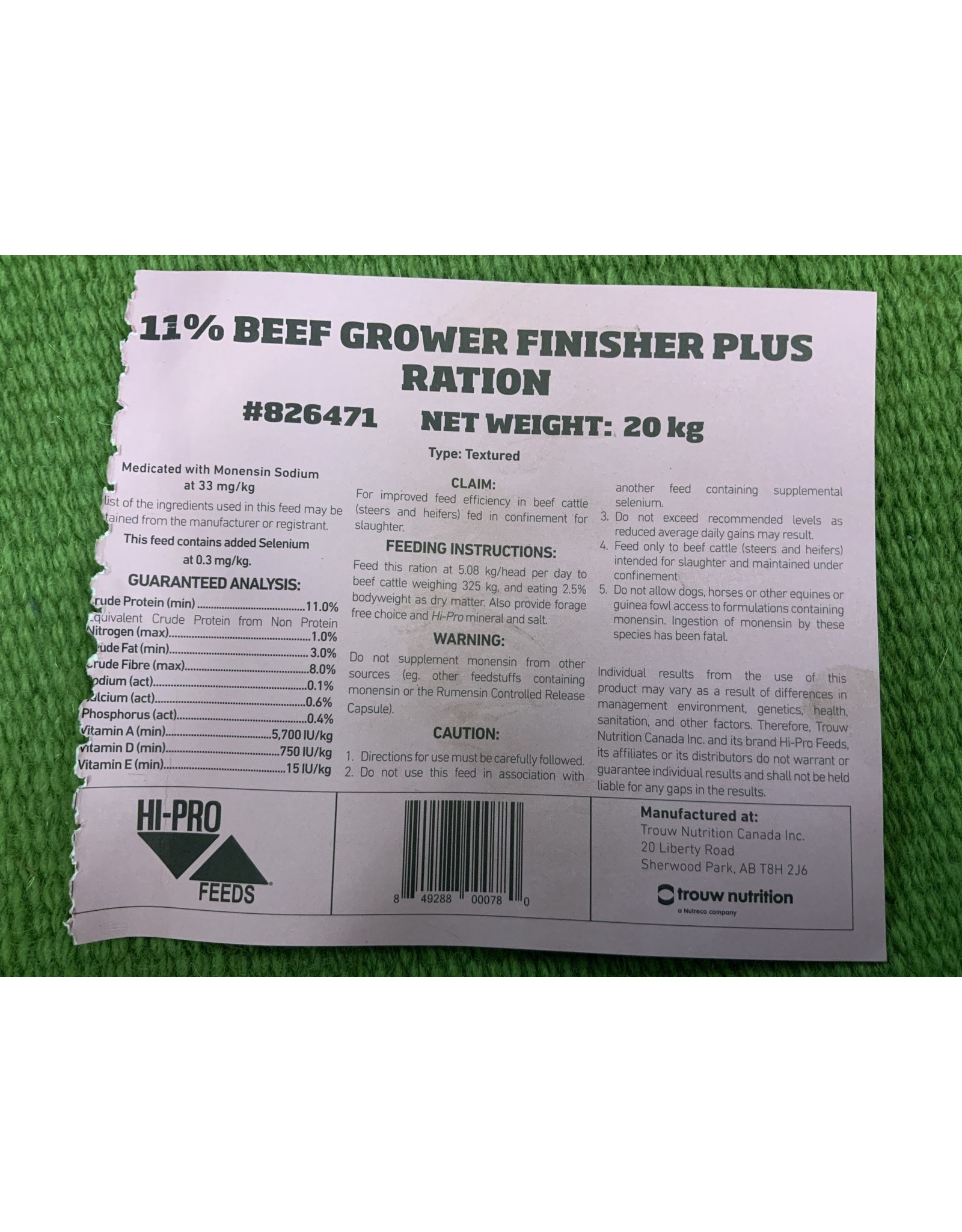 COMPLETE FEED - PRO FORM BEEF GROW/FIN PLUS * if you want to add weight to cattle this is the best feed option *NON Medicated *   826471