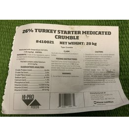 Turkey Starter - 26% Medicated - 25kg bag 410021 Recommended that young Turkey receive 28% protein
