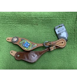 SPUR* Salvador Spur Strap - hand carved floral tooling with hand painted flowers and iridescent Swarovski crystals. Uniquely shaped doubled and stitched leather spur straps 78-7943-93-0