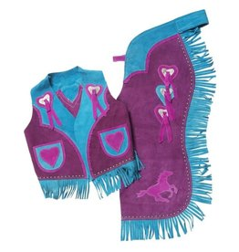 Kids Chaps & Vest -running horse and heart- 63-2562-10-101