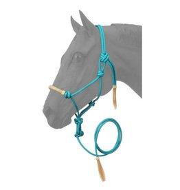 HALT* Rope Halter w/lead , rawhide noseband- Turquoise 50-1050-14-0