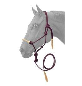 HALT* Rope Halter w/lead , rawhide noseband- Burgundy 50-1050-8-0