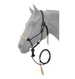 HALT* Rope Halter w/lead , rawhide noseband- Black 50-1050-2-0