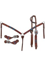 BB* breastcollar, single ear wide cheek headstall, and suede lined spur straps 90-5655-32-0