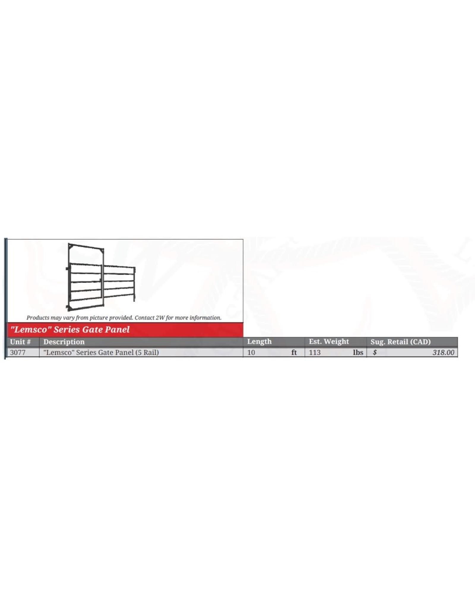 10' - In Frame -PANEL & Gate  Lemsco Panel 5 rail with walk through gate w/horse back latch   -3441