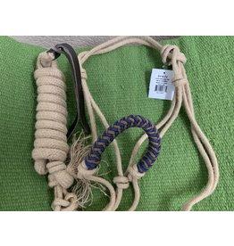 Halt* Jute Rope Halter w/ Coloured Nose and 9' Lead Tan - 292820 23