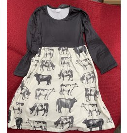 Dress- Black and ivory moo cow- Size 8/9