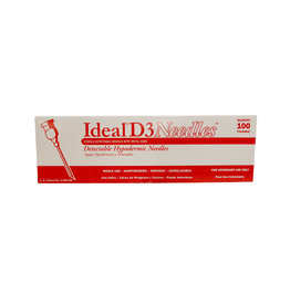 BOX NEEDLES* Ideal D3 Needle 16x3/4 100pk   034-221  - These are detectible  so if they break they break in the animal they can be found - they are Aluminum and stronger then regular needles - they are a safety needle 034-221