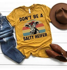 T-shirt- Salty Heifer-mustard- 1717- Large