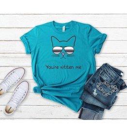 T-shirt- You're kitten me-Aqua- Medium