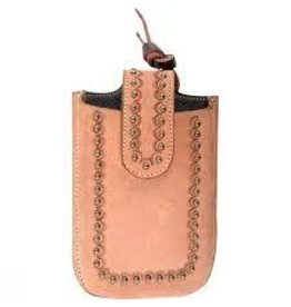 Smart Phone Holder 6-1/2'  Natural Roughout Brass Dots- IPHONEH6NTROD- Attached to back cinch, or can be tied with strings. ***Back Ordered***