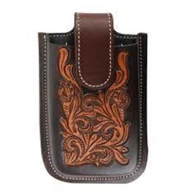 Smart Phone Holder 6-1/2'  Floral Tooled/Dyed Edges- IPHONEH6FTDE- Attached to back cinch, or can be tied with strings. ***Back Ordered***