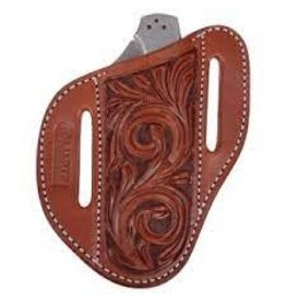 Angled  Knife Scabbards Chestnut Skirting Leather with Large Floral tooling - KSCABAFFL