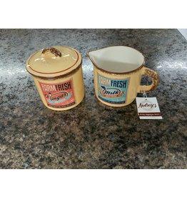 """Retro ceramic- Farm fresh milk and sugar container set 3.5"""" X 3.5"""" 8PT989 (2 parts)"""