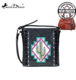 Montana West* MW Aztec Collection Concealed Carry Satchel/Crossbody Bag- Black - MW865G-8250 BK
