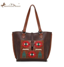 Montana West* Wrangler Embroidered Aztec Concealed Carry Tote-Coffee-WG02-9360 CF