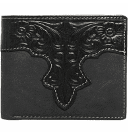 Montana West* Genuine Leather Tooled Collection Men's Wallet - Black - RFID-W006 BK