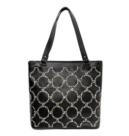 Montana West* Real Leather Studs Collection Dual Sided Concealed Carry Tote- Black - MWL-G016 BK