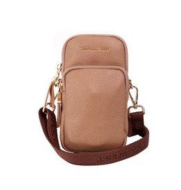 Montana West* Real Leather Cellphone Crossbody Bag - Tan - MWL-006 Tan