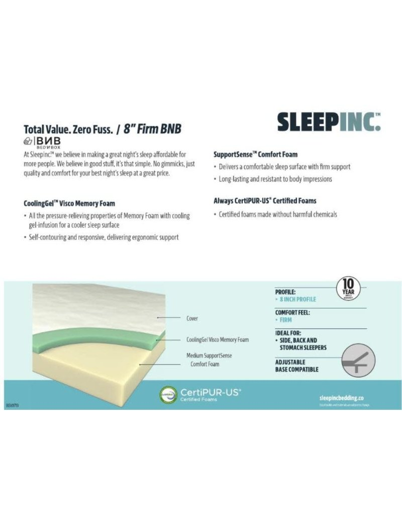 "SLEEP INC SLEEP INC 8"" FIRM, BNB, TWIN"