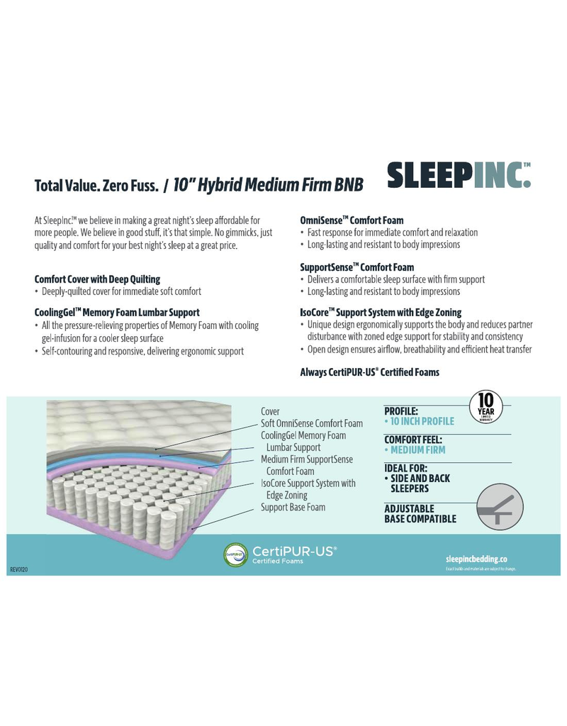 "SLEEP INC SLEEP INC 10"" MEDIUM FIRM, BNB, QUEEN"