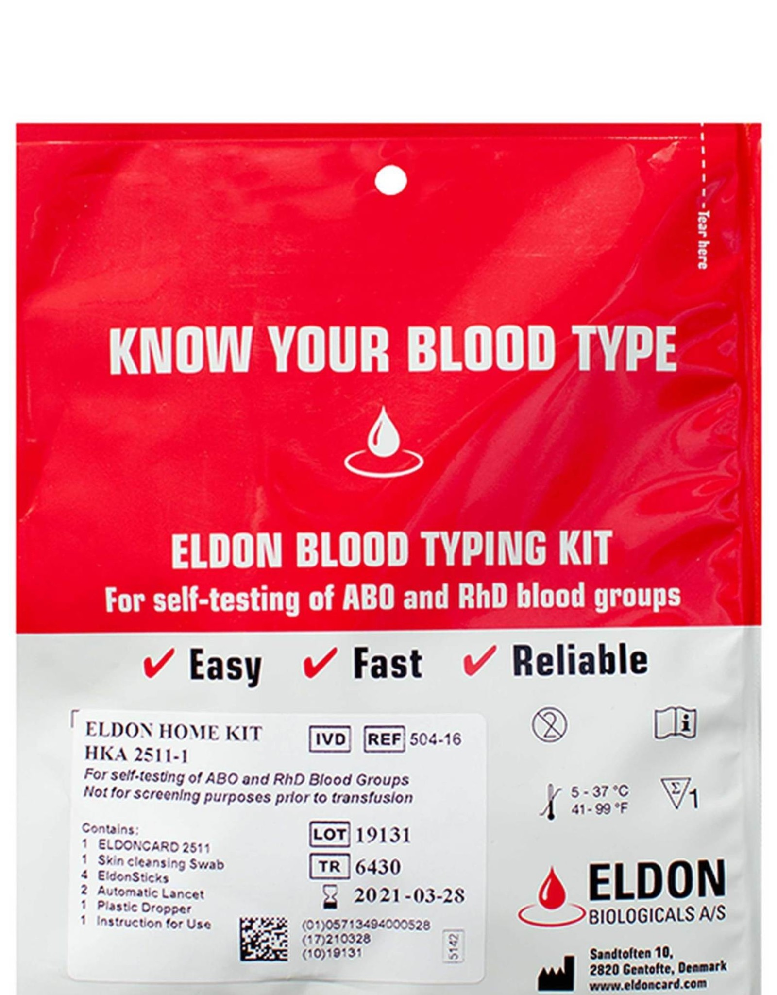Eldon Biologicals Blood Type Test Kit