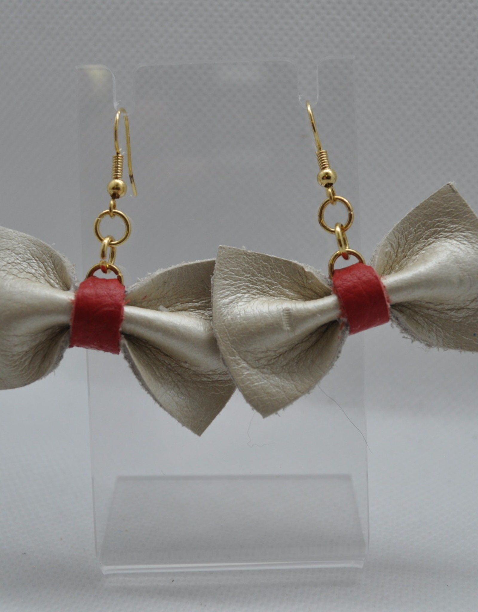 ECLectic Designs Red and White Bow Earrings