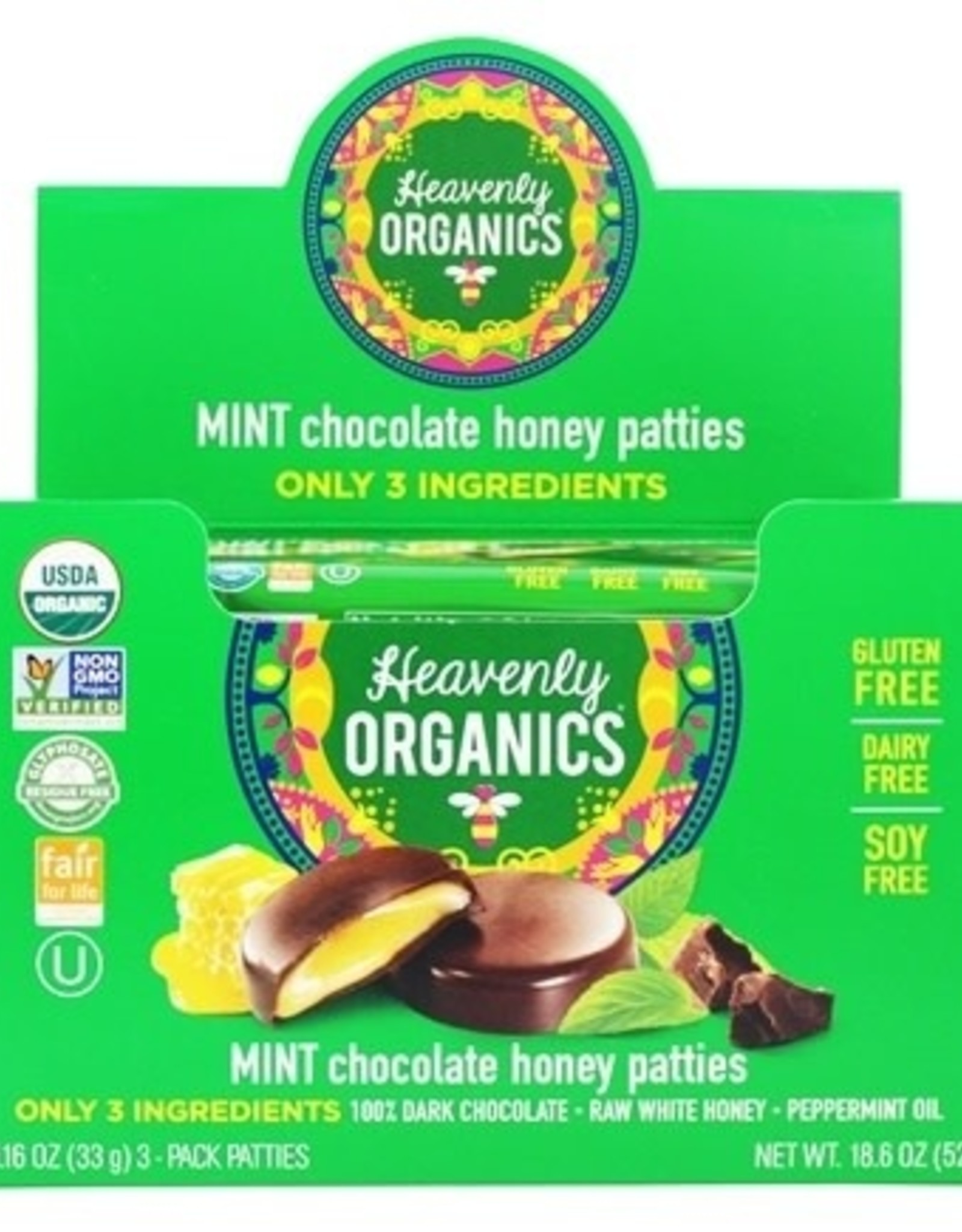 Heavenly Organics Mint Chocolate Honey Pattie (single)