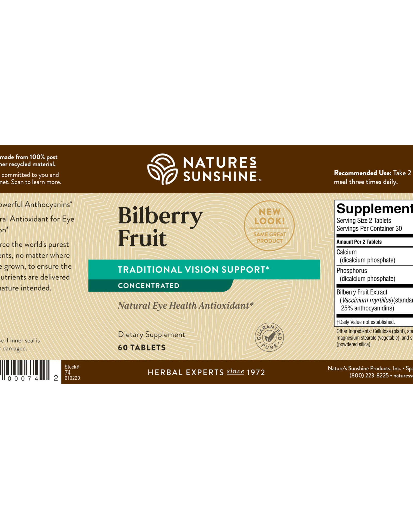 Nature's Sunshine Bilberry Fruit Concentrate (60 tabs)*