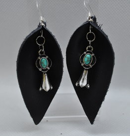ECLectic Designs Black Flower Petal With Turquoise Jewel