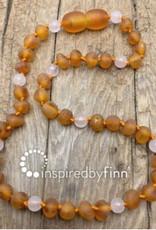 Inspired by Finn Baltic Amber Necklace - CiderRoseQuartz 10.5-11.5