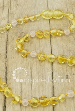 Inspired by Finn Baltic Amber Necklace - YellowRoseQuartz - 10.5-11.5