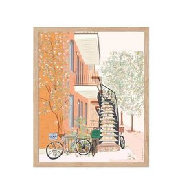 AFFICHE MONTREAL AUTOMNALE BICYCLETTE : 8X10