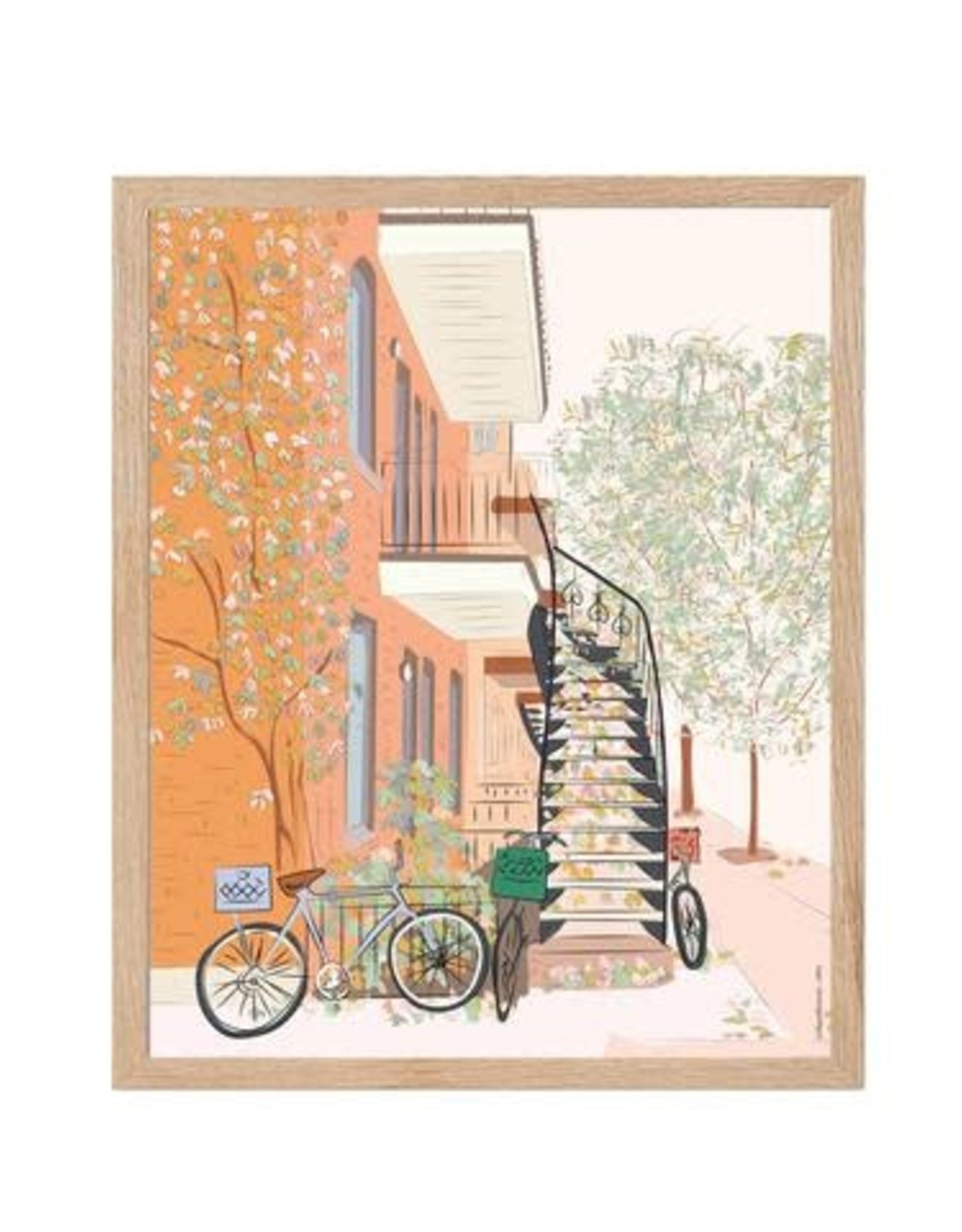 AFFICHE : MONTREAL AUTOMNALE BICYCLETTE 12x18