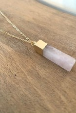 COLLIER LONG OR : QUARTZ